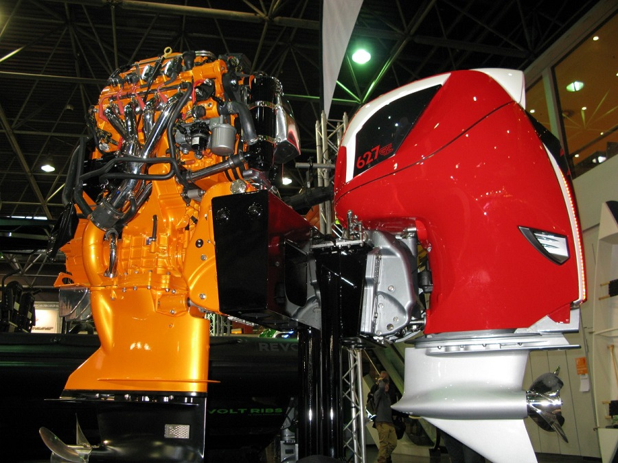 An engine made by Volvo Penta, the company that has recently acquired the majority shares of Seven Marine