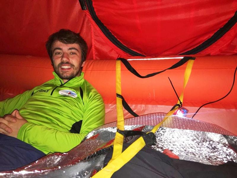 Davide Terraneo on board the Arimar life raft