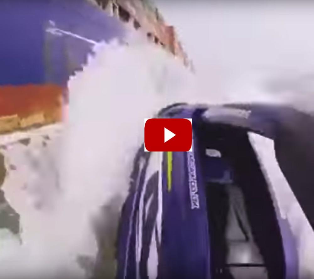 jet skier crashes into a ship
