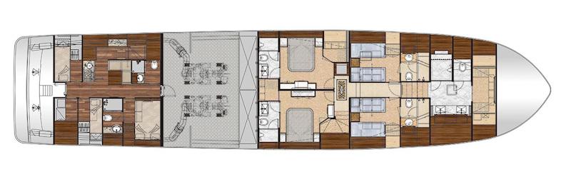 Ocean Alexander 100 Skylounge, lower deck layout