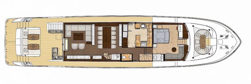 Ocean Alexander 100 Skylounge, main deck layout