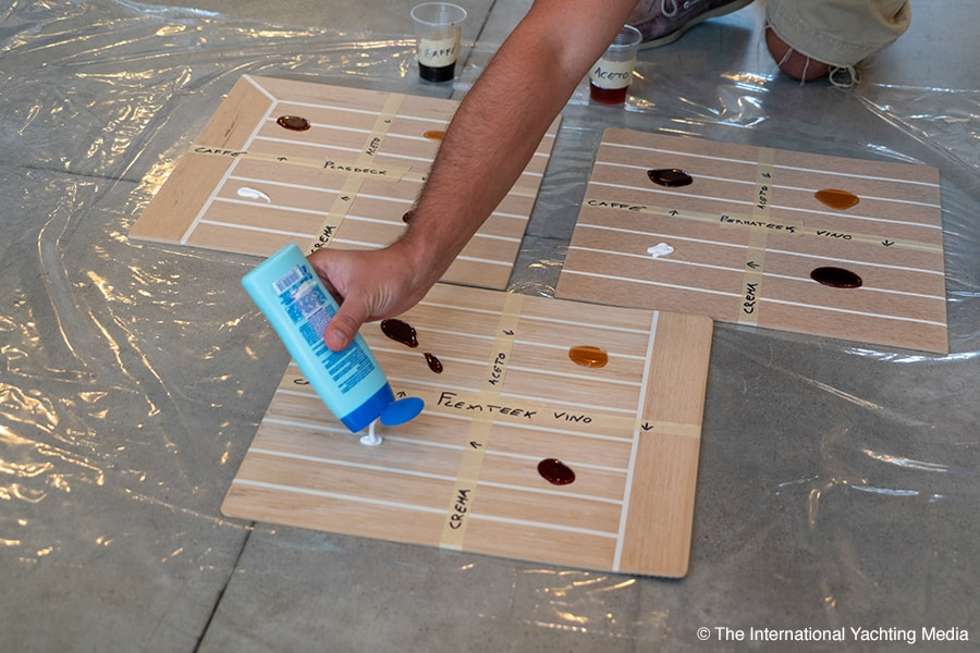 synthetic teak comparative deck, resistance to dirt
