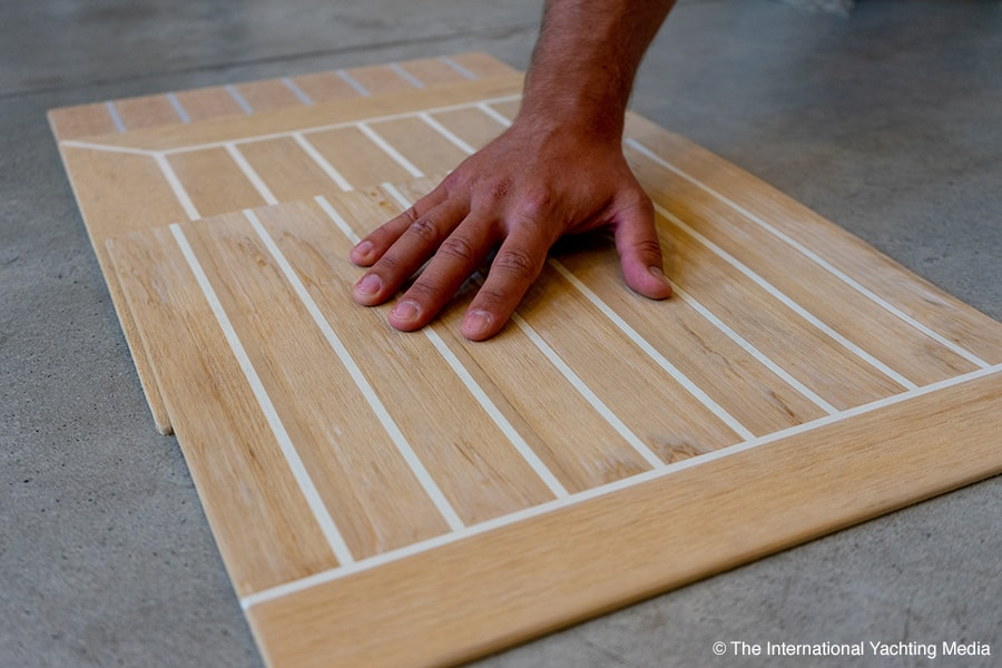 synthetic teak comparative deck, touch
