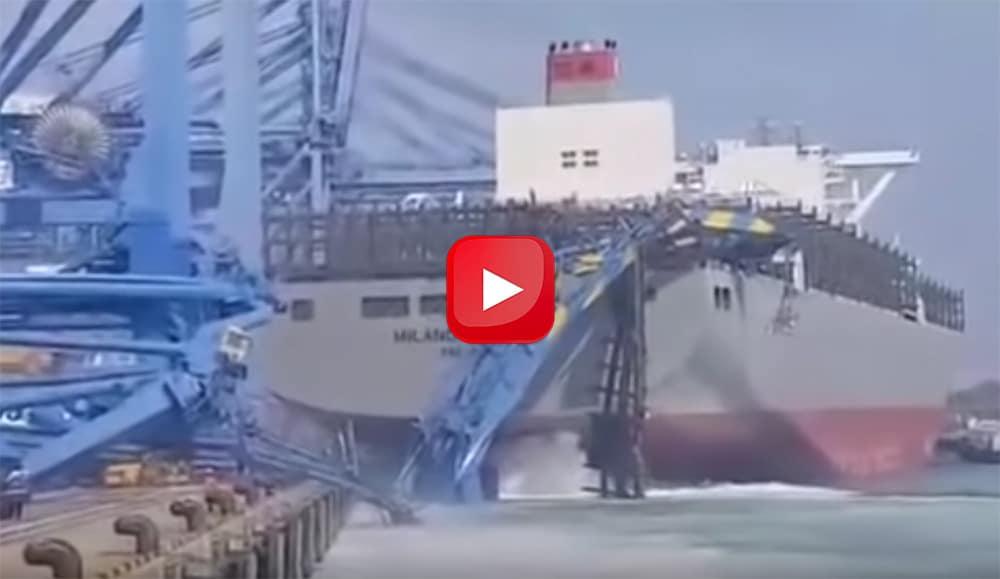 container ship crashes into a crane