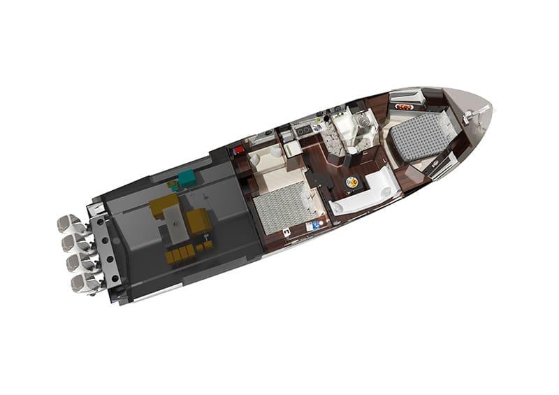 Ocean Alexander Divergence 45 Coupe, lower deck